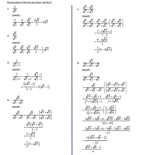 √Conotoh Soal Bentuk Akar, Eksponen, Logaritma dan Pengertiannya