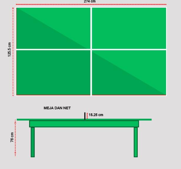 Ukuran Lapagan Tenis Meja