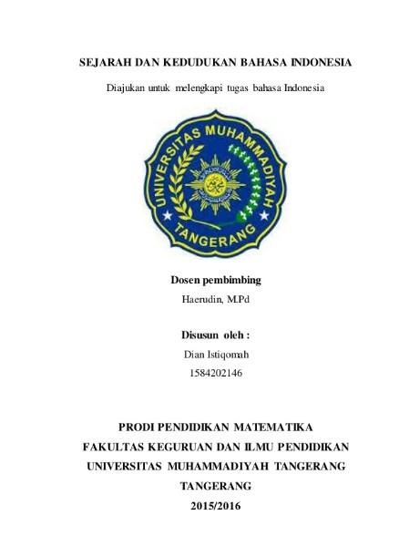 Contoh Cover Makalah Bahasa Indonesia