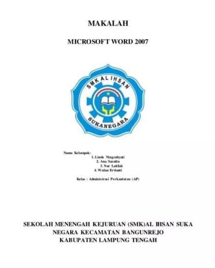 Contoh Cover Makalah Anak SMK