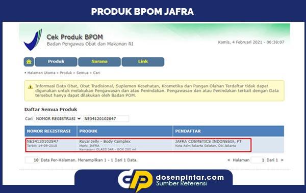 Produk Jafra BPOM